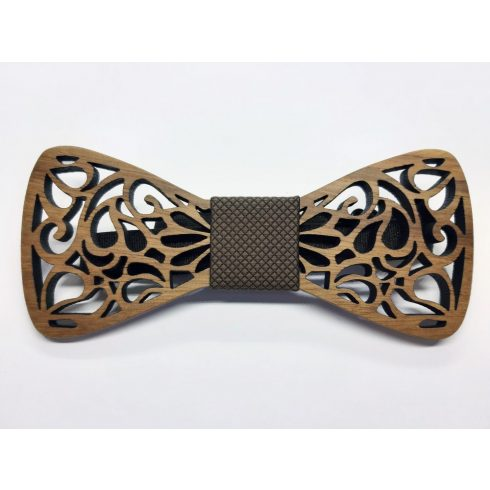 Hollow patterned zebra wood bow tie set