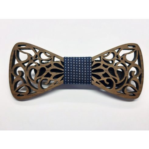 Hollow pattern walnut bow tie set