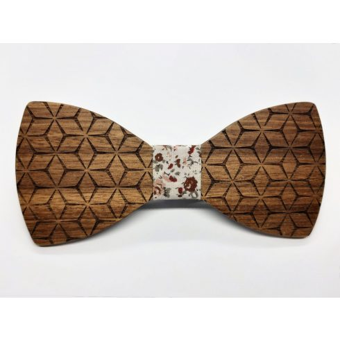 Patterned zebra wood bow tie set
