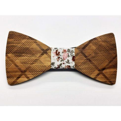 Patterned zebra wood bow tie set